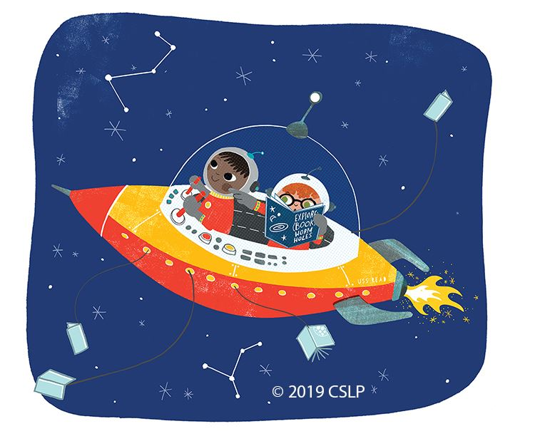Children in a space ship with one reading a book