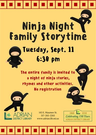 Ninja Night storytime Sept. 11 at 6:30 pm